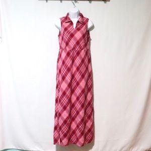 Vintage linen pink red plaid sleeveless dress 10